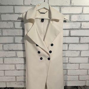 White sleeveless shell/long vest by WHBM
